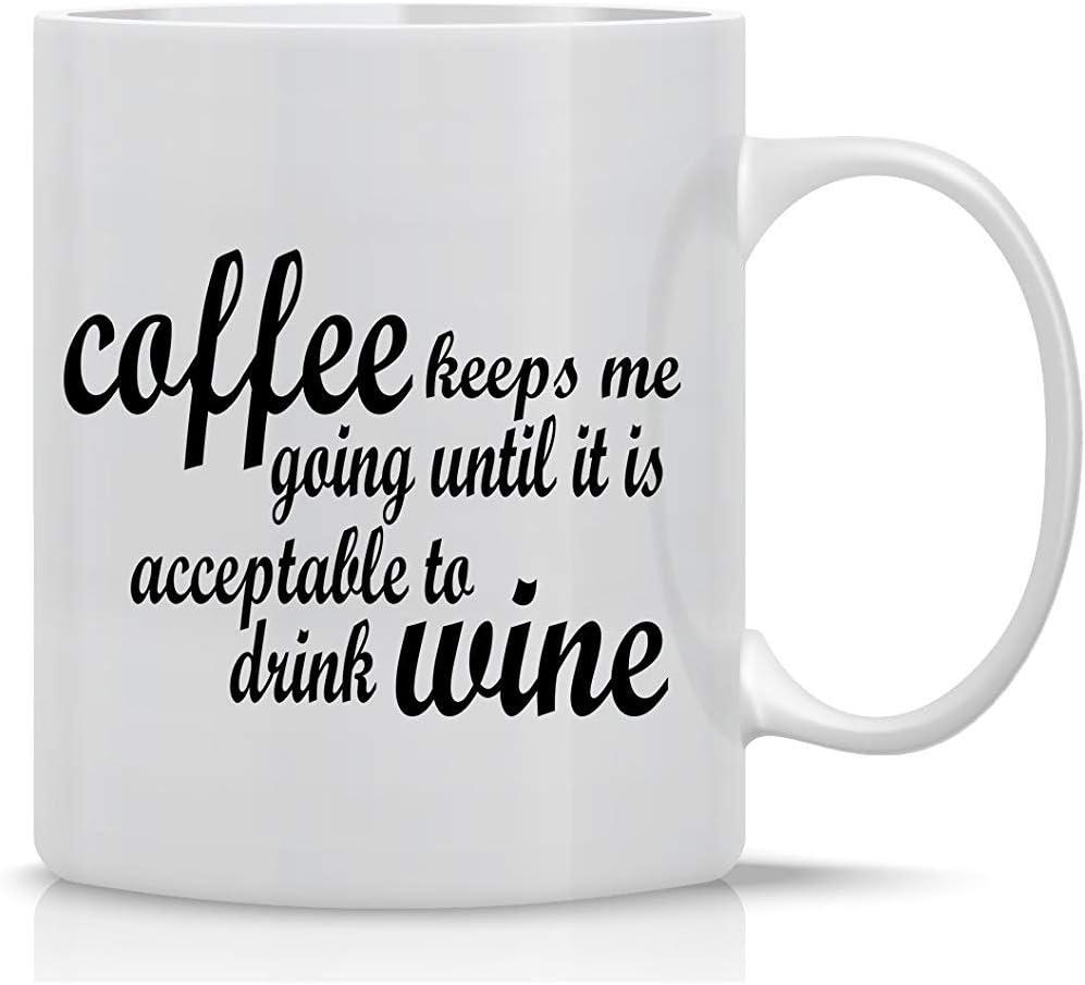 El café me mantiene en marcha hasta que sea aceptable beber vino Taza de café con leche - Taza de oficina para jefes y gerentes MG.1