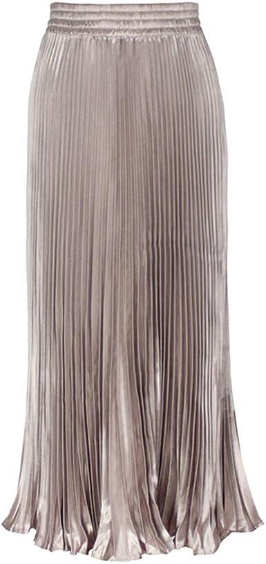 Morbuy Falda Mujer Larga Falda Casual para el Metálico Lustre ...