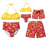 Family Matching Banana Print Bathing Suit Mom&Girl 2 Pieces Spaghetti Straps Halter Neck Bikinis Dad&Boy Swim Trunks