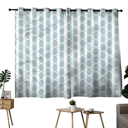 (Abeocg Printed Insulation Curtain Blue Vintage 60s Round Chain Durable W55 xL45 Suitable for Bedroom Living Room Study,etc)
