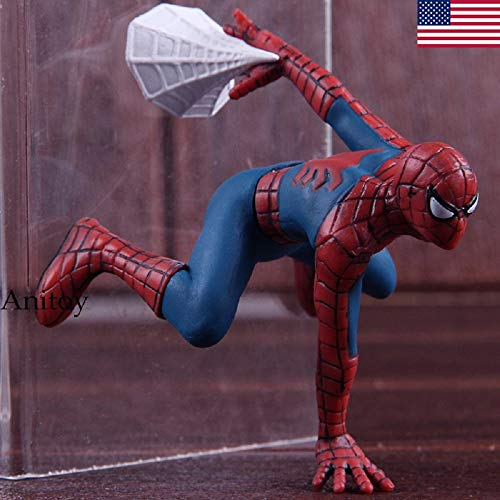 Price comparison product image Anitoy Sp-iderman Hot Toys Mini PVC Collectible Model Toy Sp-ider Man Car Home Decoration Doll with Magnet 7.5cm