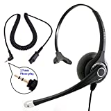 Best Sound Monaural Headset + 2.5 mm Headset Quick Disconnet Jack Combo, Compatible with Plantronics QD for Desk Phone as Office Headset