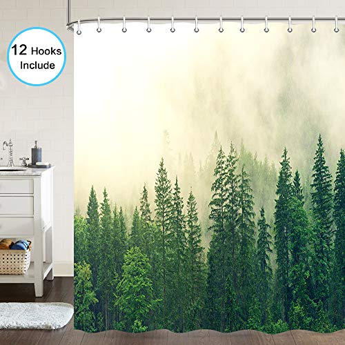 Nature Forest Shower Curtain for Bathroom, Forest Pine Tree Tops Refreshing Eco Woodland Wilderness Mountainside Landscape Bathroom Curtain Decor, Fabric Shower Curtain Hooks Include, 72 X 72 Inches (Nature Trees Shower Curtains)