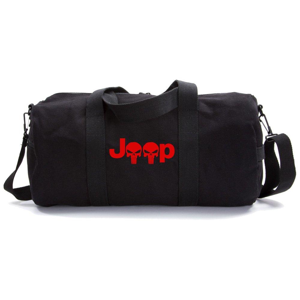 Jeep Wrangler Punisher Skull Heavyweight Canvas Duffel Bag in Black, Large