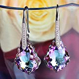 EleQueen 925 Sterling Silver CZ Baroque Drop Hook Earrings Made with Swarovski Crystals