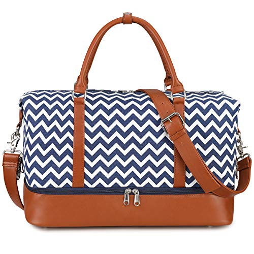 S-ZONE Women Ladies Canvas Weekender Bag Overnight Carry-on Duffel Tote Bag with PU Leather Strap (Blue Wave Strips with Shoe Compartment)