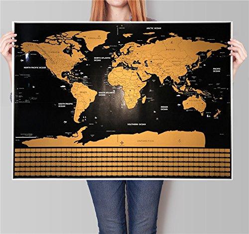 Rascar Mapa del mundo–Póster con nosotros Estados y de banderas de países, seguimiento de su aventuras.Incluye...
