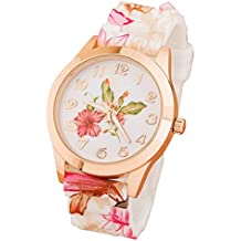 Solucky Women Silicone Printed Flower Causal Quartz Wrist Watches Pink