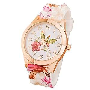 Bestpriceam Women Silicone Printed Flower Causal Quartz Wrist Watches Pink