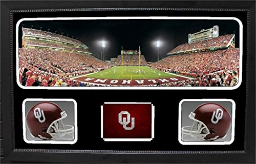 Encore Select 657-10 NCAA Oklahoma Sooners Custom Framed Sports Memorabilia with Two Mini Helmets Photograph and Name Plate by Encore