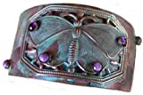 Butterfly Cuff Bracelet, Verdigris, with Amethyst, Charoite