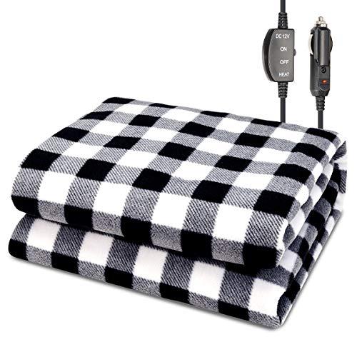 "JoyTutus Car Heated Blanket, 12V Fleece Electric Car Blanket, Emergency Heating Throw Blanket Plugs in Cigarette Lighter, Heated Travel Blanket Warm Safe Winter for Car Vehicle SUV RV, 59"" X 43"""