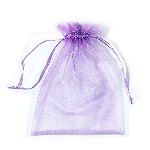 100 Pcs Transparent Organza Bags Drawstring Jewelry Bags, BZCTAH 30 x 40cm Multicolor with Drawstring Gift Pouch Candy Bags,Purple#1