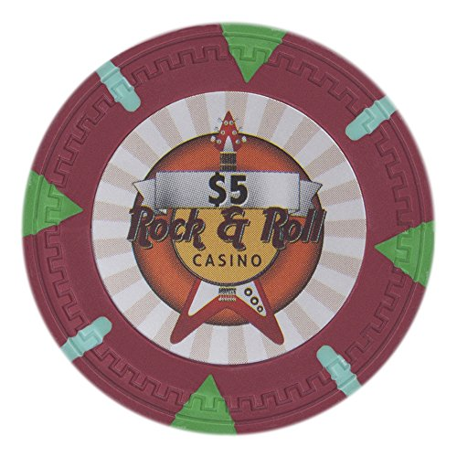 Claysmith Gaming Rock & Roll Poker Chip Heavyweight 13.5-gram Clay Composite - Pack of 50 ($5 Red)