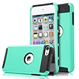 iPod Touch 6 Case, iPod Touch 5 Case, KAMII Slim Fit Shockproof Bumper Dual Layer Hard PC+Soft Silicone Hybrid Protective Case Cover for Apple iPod touch 5 6th Generation (Aqua+Black)