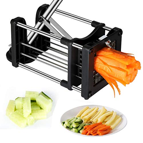 French Fry Sweet Potatoes - Reliatronic French Fry Cutter with Extended Thrust Bar, Heavy Duty Potato Cutter with 2 Different Size Superdurable Steel Replacement Blades,Perfect for Potatos,Carrots,Cucumbers.