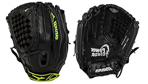 Mizuno GPL1200F1 Prospect Fastpitch Series Left Handed Throw Youth Softball Mitt, Black, 12.00-Inch