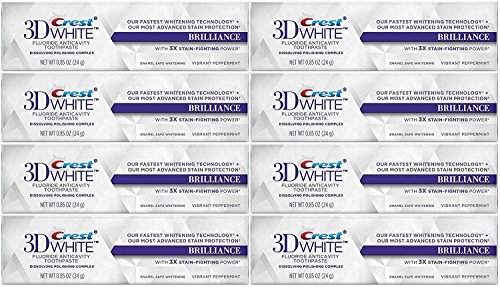 - Crest 3D White Brilliance Whitening Toothpaste, Vibrant Peppermint, Travel Size, TSA Approved, 0.85 Ounce (Pack of 8)