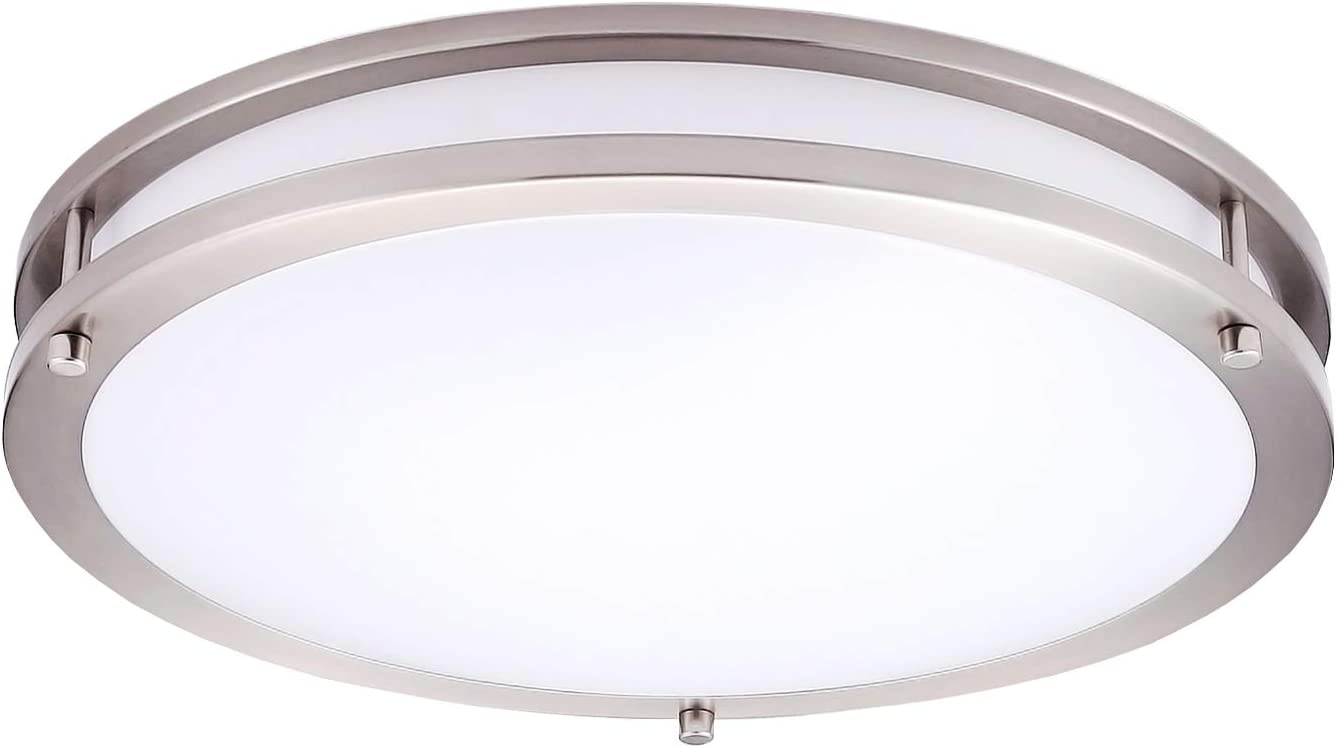 "OSTWIN 16"" LED Flush Mount Ceiling Light, Brushed Nickel Finish with Acrylic Shade,Warm White Dimmable, 24 Watt (125W Repl.) 3000K Warm Light, 1700 Lm, UL and Energy Star Listed"