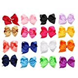 ICObuty 5' Boutique Girls Hair Bows Hair Clips For Baby Girls Toddlers 16 Pcs