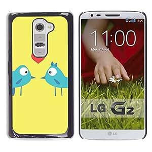 PC/Aluminum Funda Carcasa protectora para LG G2 D800 D802 D802TA D803 VS980 LS980 Birds Love Kiss Heart Lovers Blue Art Cartoon / JUSTGO PHONE PROTECTOR