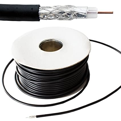 50M RG59 Black Coaxial Cable - For CCTV Video - 75 ohm Wire Reel Drum