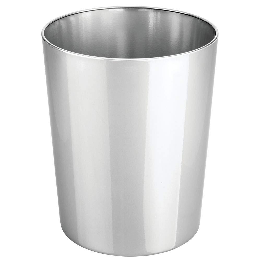 MetroDecor mDesign Papelera de Oficina Redonda Papelera met/álica compacta y espaciosa para ba/ño Cocina u Oficina Plateado Cubo de Basura de Metal