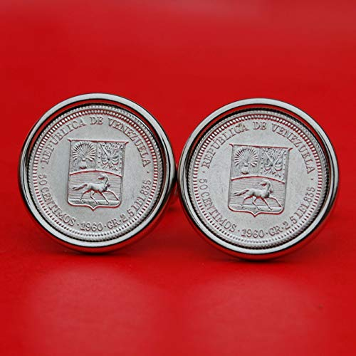 1960 Venezuela 50 Centimos 0.835 Silver BU Unc Coin Cufflinks NEW - National Arms with Cornucopias, Horse, Flags, Laurel, Olive Branch