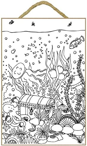Sjt Enterprises Inc Coffre Au Tresor Ocean Avec Pieuvre 17 8 X 26 7 Cm Plaque De Coloriage En Bois Sjt03205 Amazon Fr Cuisine Maison