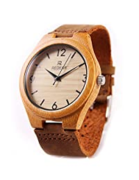 Handmade Wooden Watch Made with Natural Bamboo Wood in Brown Leather Strap - HGW-155