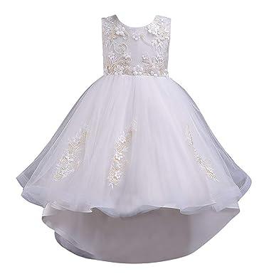 dfe55be6a38 BaZhaHei Robe de Ceremonie Enfant Fille Dentelle Florale Princesse Mariage  Reconstitution Historique Fête Asymetrique Cocktail Robe