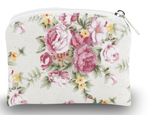 Fully Lined Rose Flower Patterened Brocade Rosary Case with Zipper Closure, 3 (Rosary Pouch)
