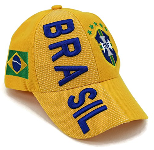 High End Hats Nations of South America Hat Collection Embroidered Adjustable Baseball Cap, Brazil/Brasil with CBF Logo, Yellow ()