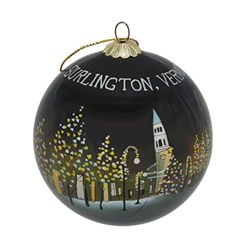 Hand Painted Glass Christmas Ornament - Burlington, Vermont at Night