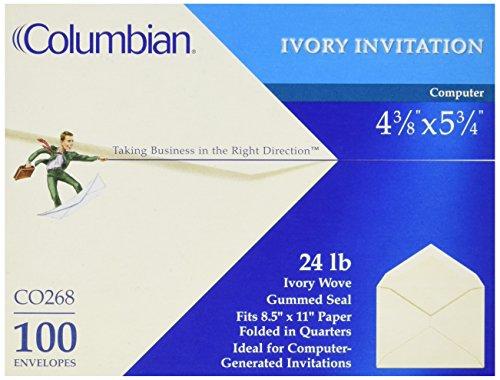Columbian CO268 Invitation Envelopes, 4-3/8 x 5-3/4 Inches I