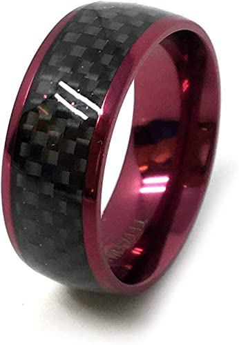 Free Engraving 8mm Tungsten Carbide High Polish with Black /& Red Carbon Fiber Inlay Wedding Band Ring for Him or Her