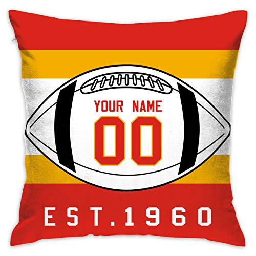 JHBFJHKP-Y Kansas City Chiefs Pattern Cushion Covers Decorative Throw Pillows for Sofa 20x20 Inches Pillow Case