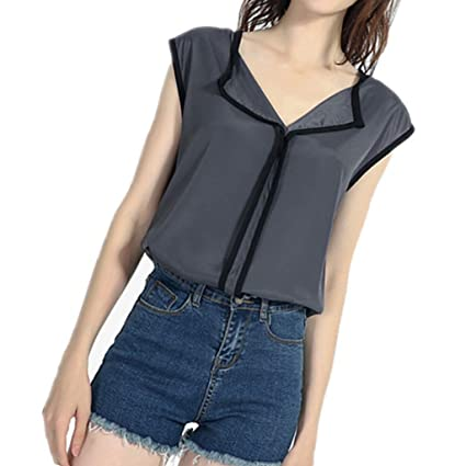 Wave166 Blusas Camisetas de Gasa Ropa de Mujer Camisas Sin ...