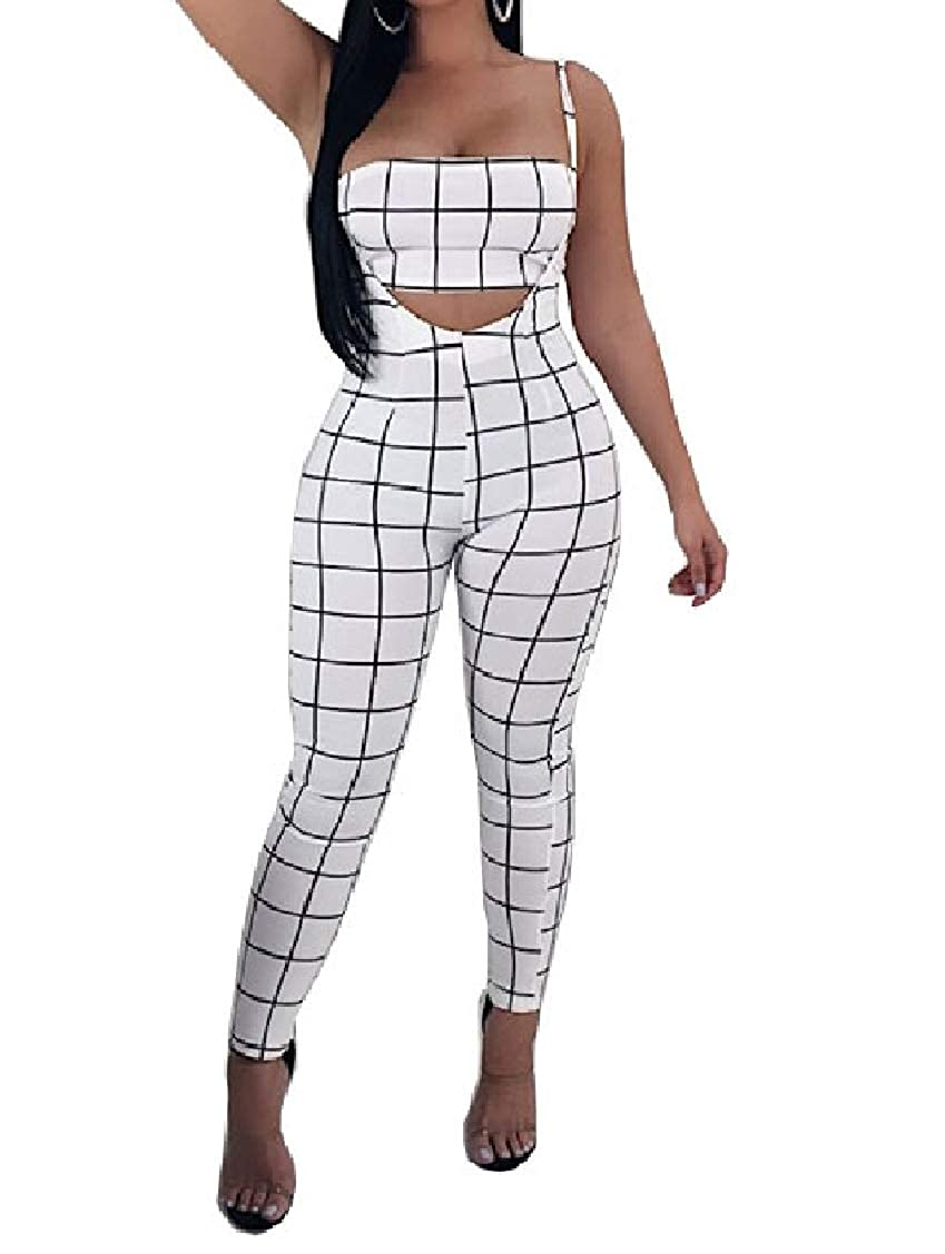 Coolred-Women Classic 2pcs Set Plaid Plus Size Top Pants Playsuit