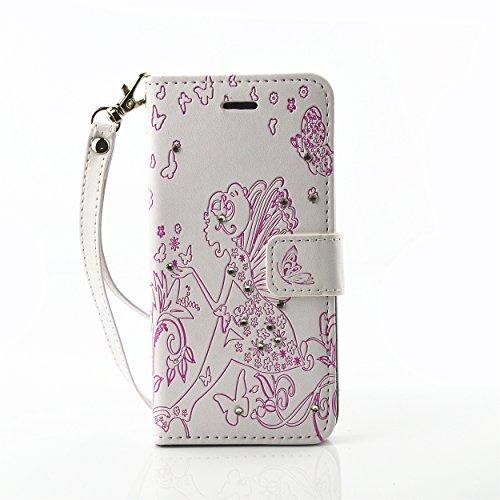 Voguecase® Pour Apple iPhone 7 Coque, Étui en cuir synthétique chic avec fonction support pratique pour Apple iPhone 7 (fille papillon-diamant-blanc et violet)de Gratuit stylet l'écran aléatoire unive