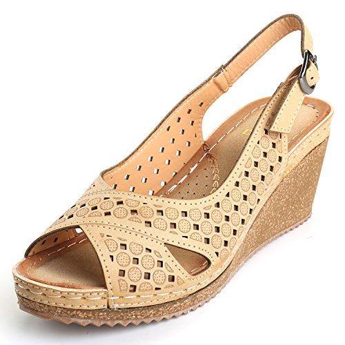 - Alexis Leroy Adjustable Buckle Peep Toe Vamp Women's Platform Wedge Sandals Apricot 1 6-6.5 M US