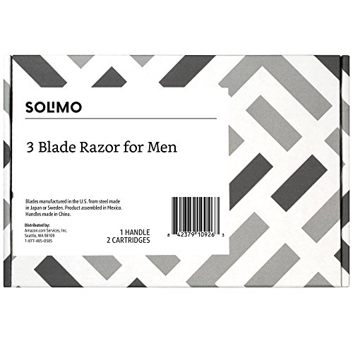 Solimo 3-Blade Razor for Men, Handle & 2 Refills (Refills fit Solimo Razor Handles only)