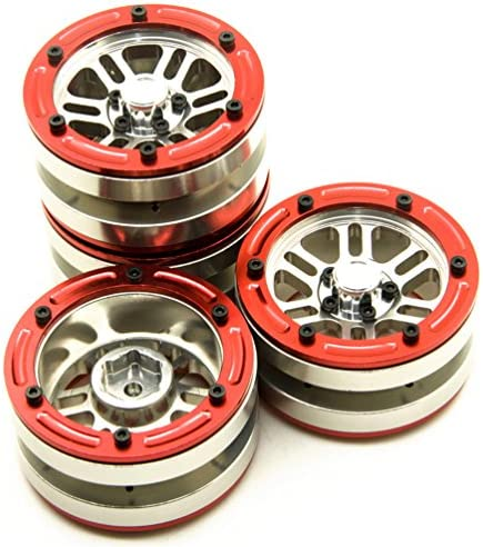MOHERO 4.8cm Alloy Beadlock Wheel Rims Set for for RC 1/10 Crawl