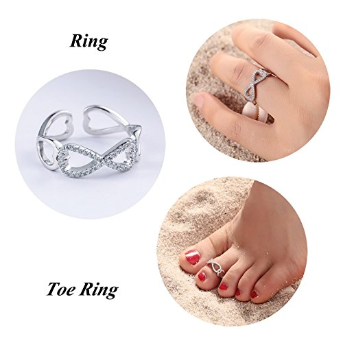 AMDXD Jewelry Womens 925 Sterling Silver Toe Ring Hollow Bowknot Cubic Zirconia 1.4CM Diameter,Adjustable by AMDXD (Image #1)