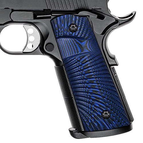 Cool Hand 1911 G10 Grips, Full Size (Government/Commander), Magwell Cut,Big Scoop, Ambi Safety Cut, Sunburst Texture, Brand,Blue/Black