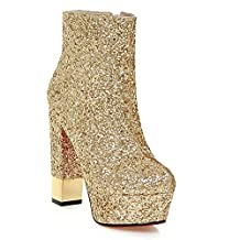 Kaloosh Women's Glitter Fabric Pointed Toe Square High Heel Platform Ankle Boots