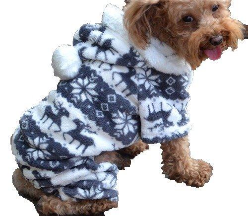 QIYUN.Z Casual Four Legs Black White Velvet Snow Deer Christmas Hoodie Dog Sweater Winter Warm Coat (Snow White Dog Costume)