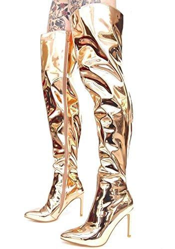 Mnii Siameses Pantalones Botas De Señora, Señoras De Alta Del Muslo De La Rodilla Botas En El Zapatos De Tacón Alto De Plata De Oro De Oro Botas Altas De Estilo Banquete Del Partido De Celebridades