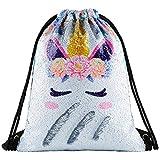 Unicorn Sequin Drawstring Backpack Gym Dance...