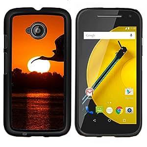 Jordan Colourful Shop - Crane Stork Sunset For Motorola Moto E 2nd Generation Personalizado negro cubierta de la caja de pl????stico
